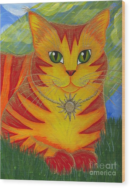 Rajah Golden Sun Cat Wood Print