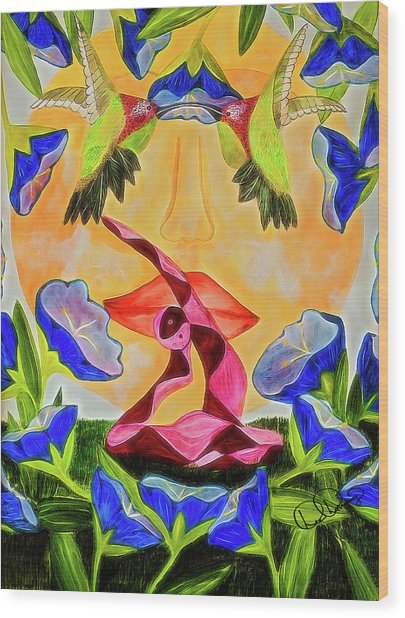 Wood Print featuring the painting Rajakapotasana by Dee Browning