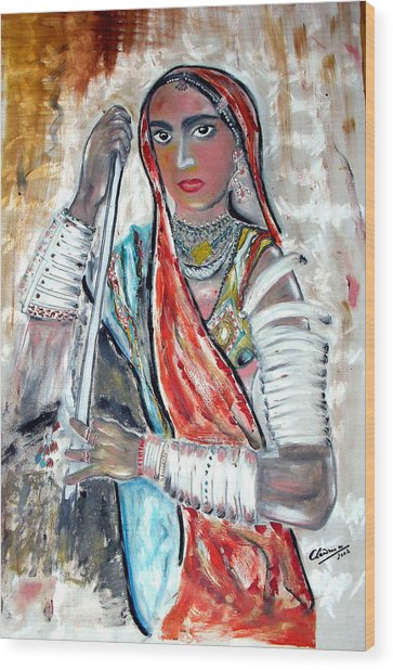 Rajasthani Woman Wood Print by Narayanan Ramachandran