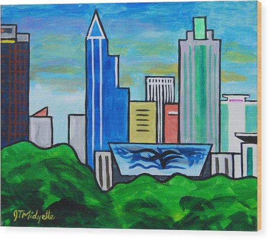 Raleigh Skyline 3 Wood Print