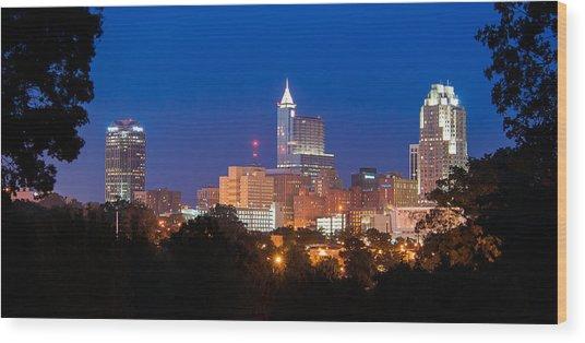 Raleigh Skyline Wood Print