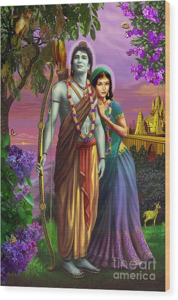 Rama And Sita  Wood Print