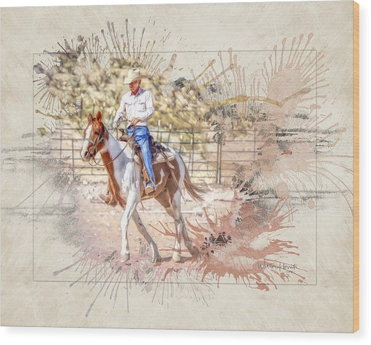 Ranch Rider Digital Art-b1 Wood Print