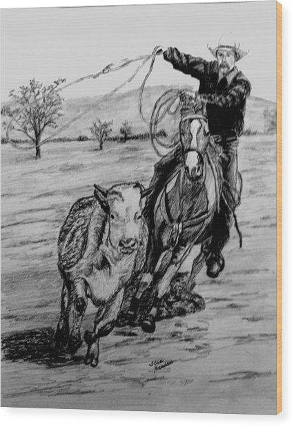 Ranch Work Wood Print by Stan Hamilton