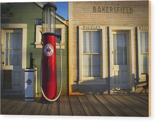 Randsburg Pump Wood Print by Mike Hill