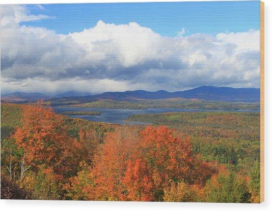 Rangeley Lake Autumn View Wood Print