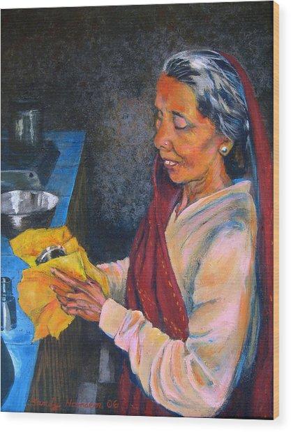 Rani The Cook Wood Print by Art Nomad Sandra  Hansen