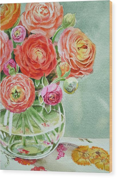 Ranunculus In The Glass Vase Wood Print
