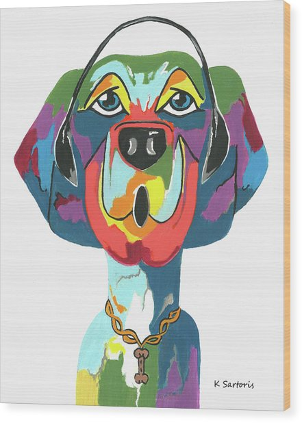 Rapping Rover - Funny  Dog Wood Print
