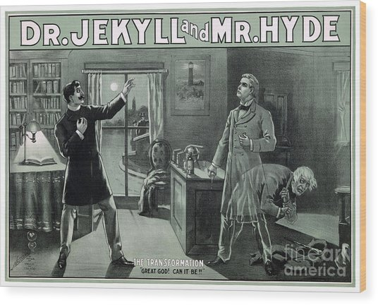 Rare Dr. Jekyll And Mr. Hyde Transformation Poster Wood Print