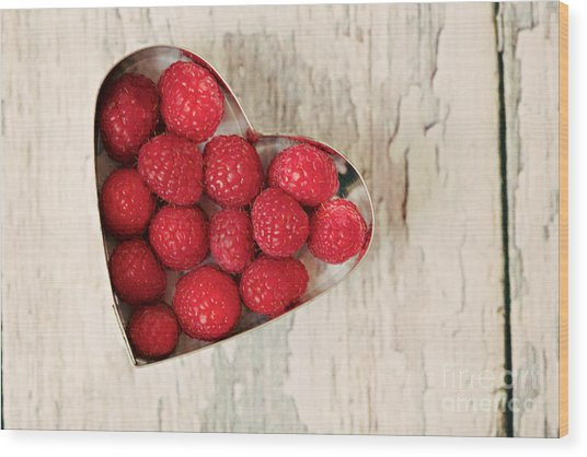 Raspberry Heart Wood Print