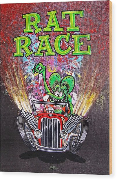 Rat Race Wood Print