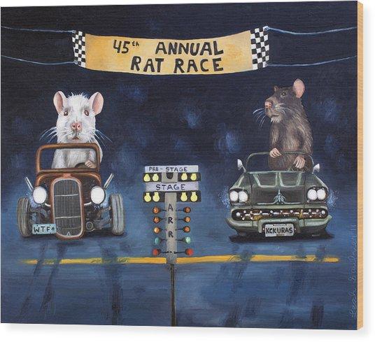 Rat Race Wood Print