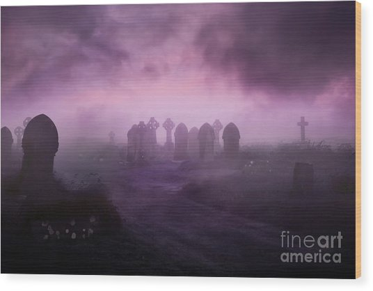Rave In The Grave Wood Print