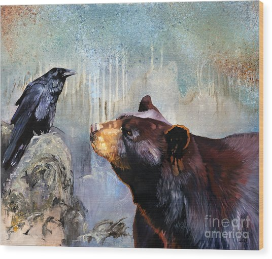 Raven And The Bear Wood Print