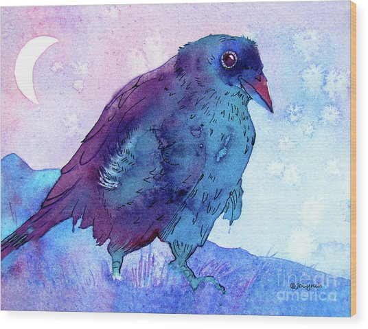 Raven At Dusk Wood Print