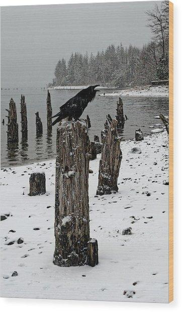 Raven Call Wood Print
