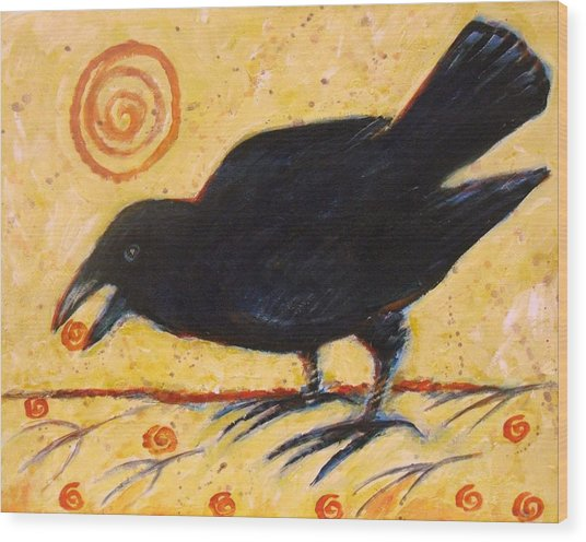 Raven Grazing Wood Print
