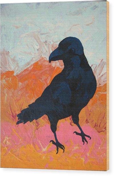 Raven I Wood Print by Dodd Holsapple
