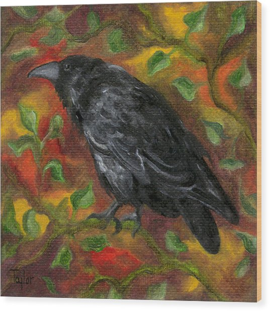Raven In Autumn Wood Print