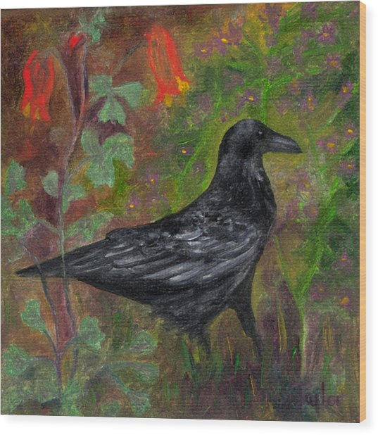 Raven In Columbine Wood Print