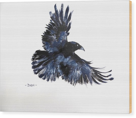 Raven In Flight Wood Print