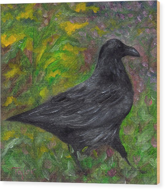Raven In Goldenrod Wood Print