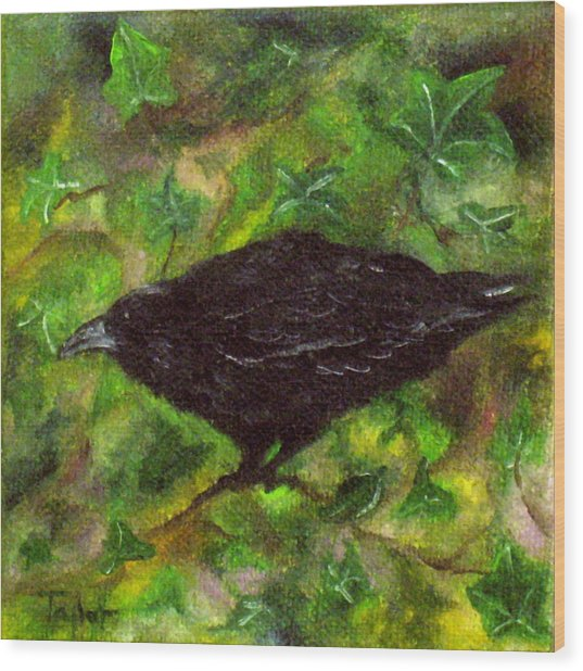 Raven In Ivy Wood Print