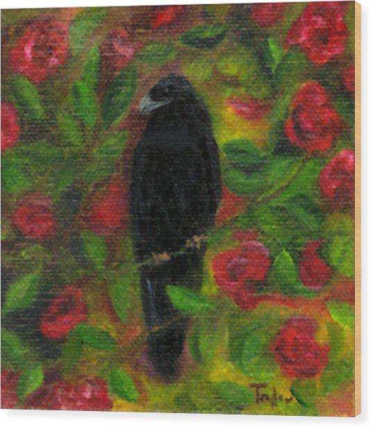 Raven In Roses Wood Print