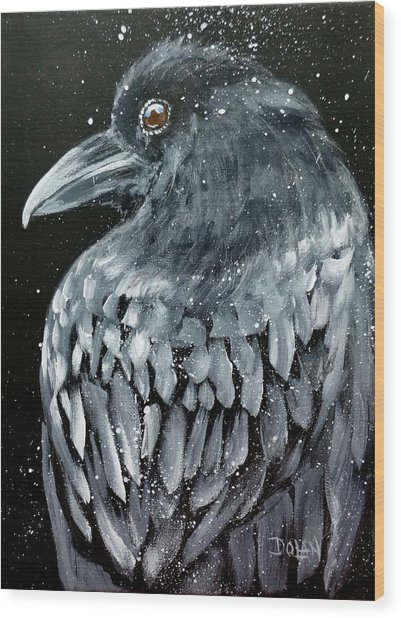 Raven In Snow Wood Print
