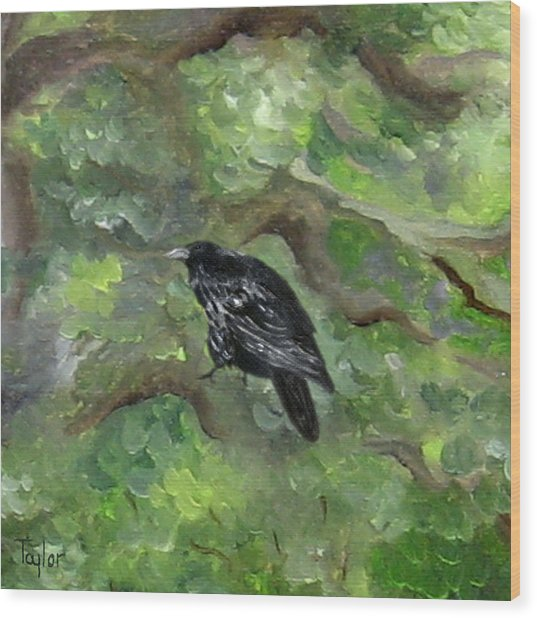 Raven In The Om Tree Wood Print