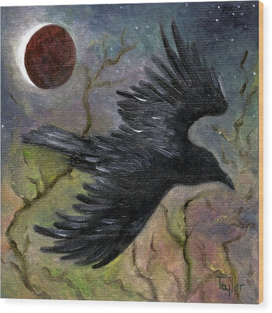 Raven In Twilight Wood Print