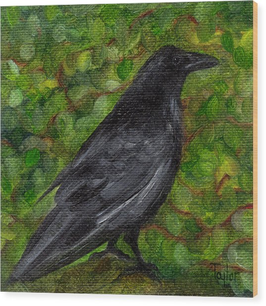 Raven In Wirevine Wood Print