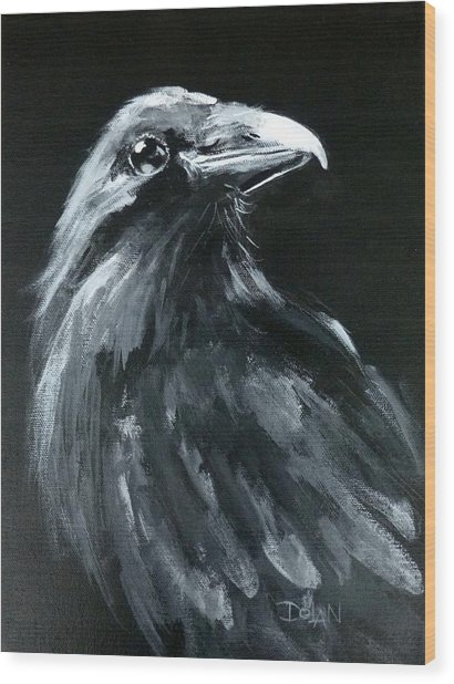 Raven Looking Right Wood Print