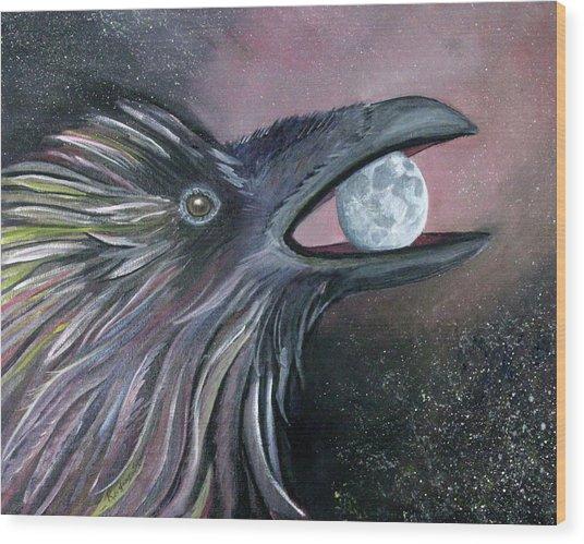 Raven Moon Wood Print by Amy Reisland-Speer