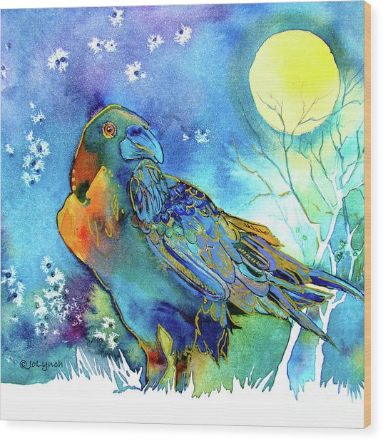 Raven Night Spirit Wood Print