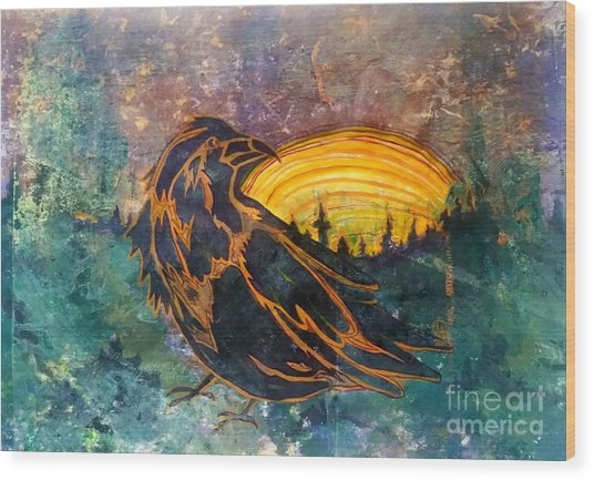 Raven Of The Woods Wood Print
