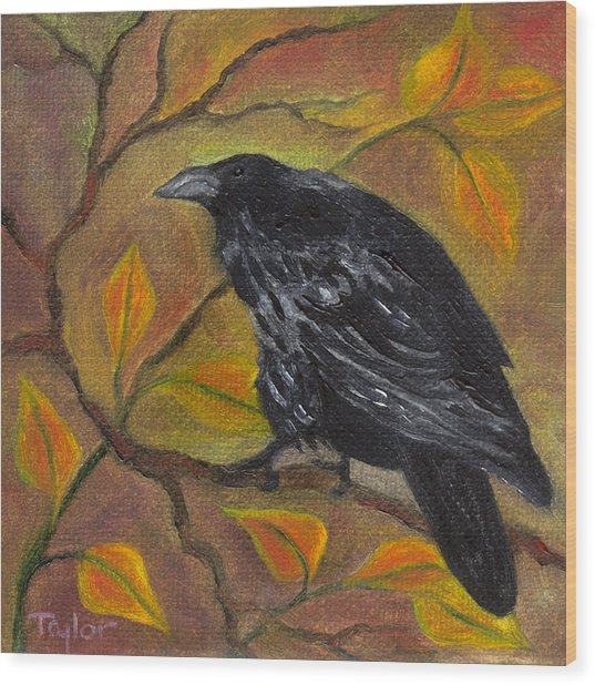 Raven On A Limb Wood Print