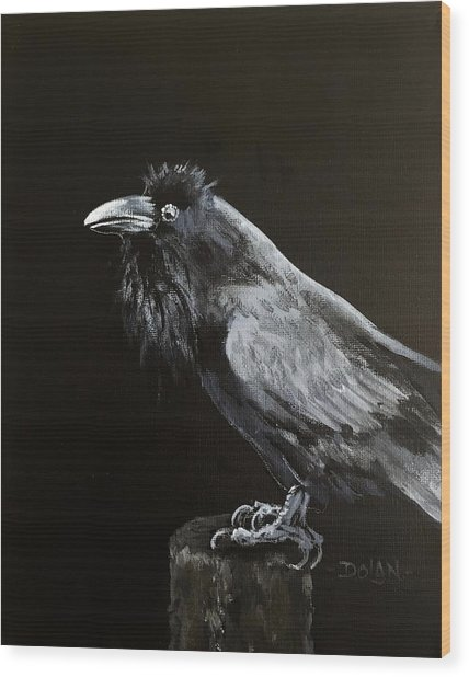 Raven On Post Wood Print