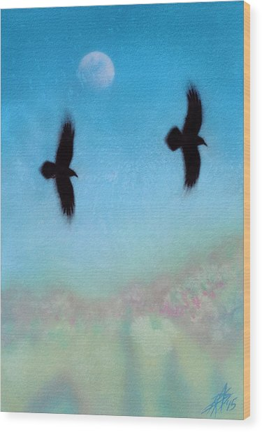 Raven Pair With Diurnal Moon Wood Print by Robin Street-Morris
