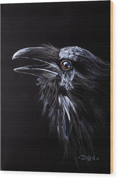 Raven Portrait Wood Print