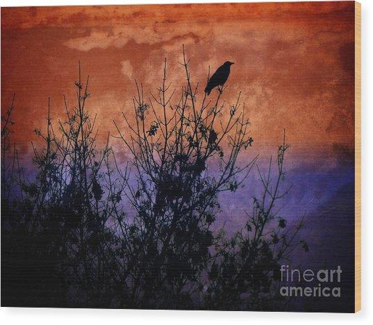 Raven Sentinel Wood Print