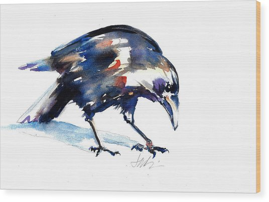 Raven Shadow From Vancouver Wood Print