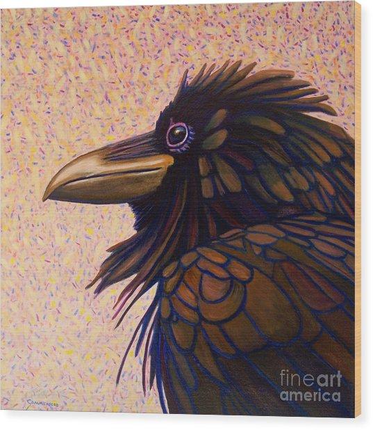 Raven Shaman Wood Print