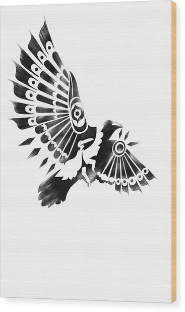 Raven Shaman Tribal Black And White Design Wood Print
