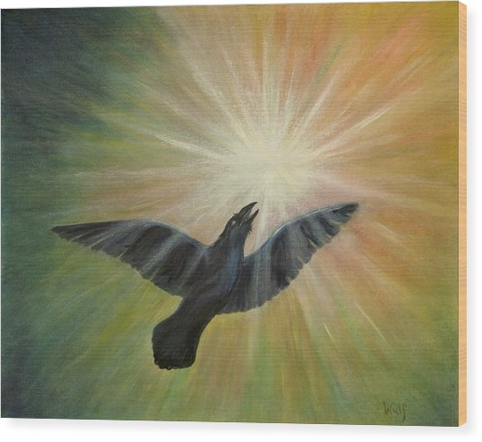 Raven Steals The Light Wood Print by Bernadette Wulf