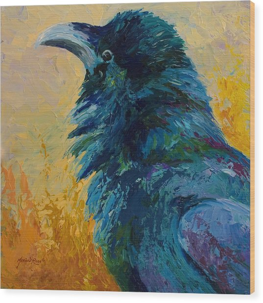 Raven Study Wood Print