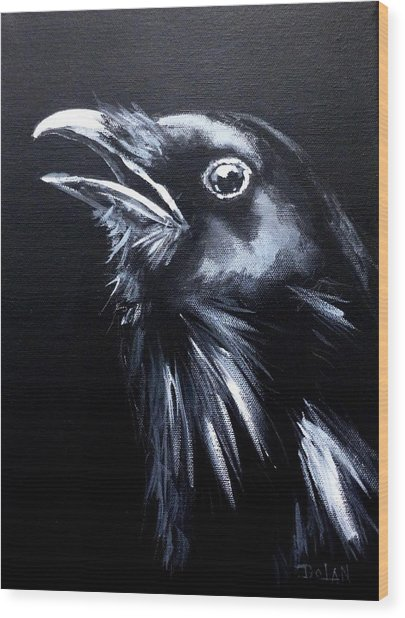Raven Warning Wood Print