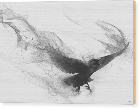 Raven's Flight Wood Print
