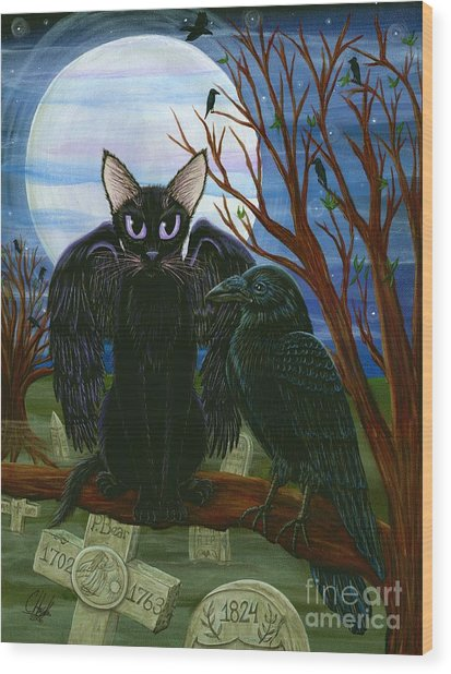 Raven's Moon Black Cat Crow Wood Print